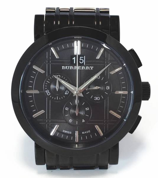 34406607077 Brand new as well as Burberry watches chronograph BU1385 mens watch mens  BURBERRY watch check black dial