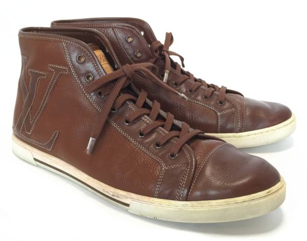 78ae013698d Louis Vuitton shoes high cut sneakers ALL leather mens LV logo Brown  gentleman for LV Vuitton LOUIS VUITTON Louis Vuitton Louis Vuitton 26.5 cm