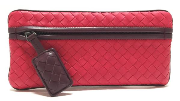 Unused Bottega Veneta pouch pencil case woven leather Red Red intrecciato BOTTEGA VENETA Womens