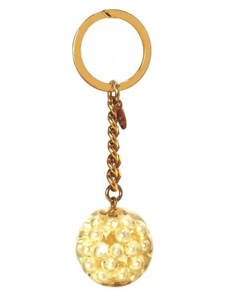 Chanel keychain sphere Pearl Keyring Coco make fake Pearl CHANEL Womens Bag  ball gold 1e2a13651