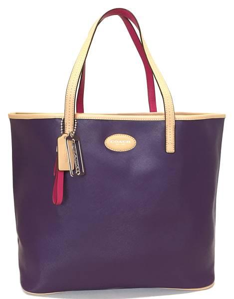 【値下げ】コーチ トートバッグ メトロ ショルダーバッグ パープル 紫 レディース COACH ラージバッグ 美品  【中古】
