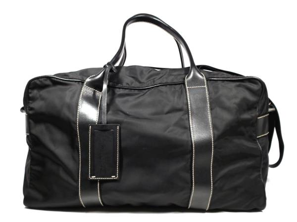 b8e5197befb7 ... free shipping prada triangular plate boston bag 2 way leather nylon  lightweight black travel bags tested
