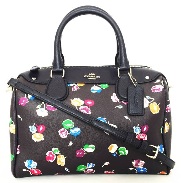 Unused coach 2-WAY mini Boston bag shoulder bag floral flower black COACH  handbags PVC ladies