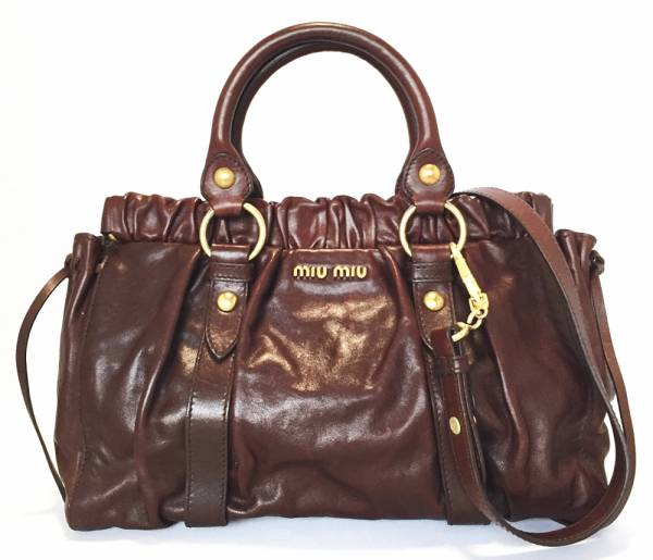 91168984413f Miu Miu 2-WAY handbag shoulder bag RT0383 Leather Brown tote bag MIUMIU  women s