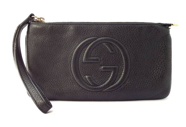 Gucci SOHO long wallet wristlet pouch leather black mens Womens 295840 black GUCCI interlocking G