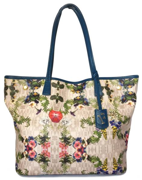 Furla Tote Bag Fl Flower Shoulder Womens Blue Pvc