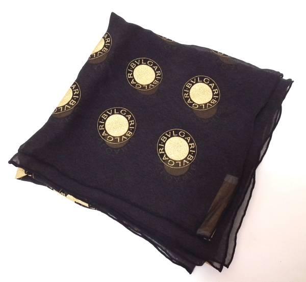 ブルガリ スカーフ シルク ブラック ブルガリブルガリ シフォン ゴールド 黒 BVLGARI ストール 【中古】