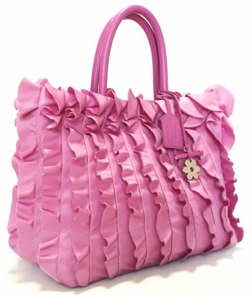9fe9f0032113 ... Prada ruffled tote bag pink BN1734 Hawaii limited edition handbags PRADA  flower charm with women's nylon ...