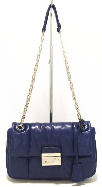 Prada chain shoulder bag leather nappa bomber PRADA quilted B5023L lambskin chain  shoulder brand new as well as blue