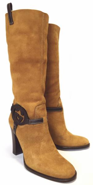 fb4f0b97 35 1 / 2 GG Shearling boots Gucci camel GUCCI ladies women's knee high  boots brown shoes interlocking Shearling boots