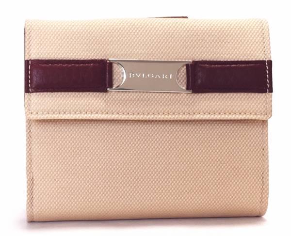 【値下げ】未使用 ブルガリ Wホック 財布 キャンバス レザー 両面財布 ベージュ ボルドー BVLGARI 二つ折り財布 レディース 【中古】