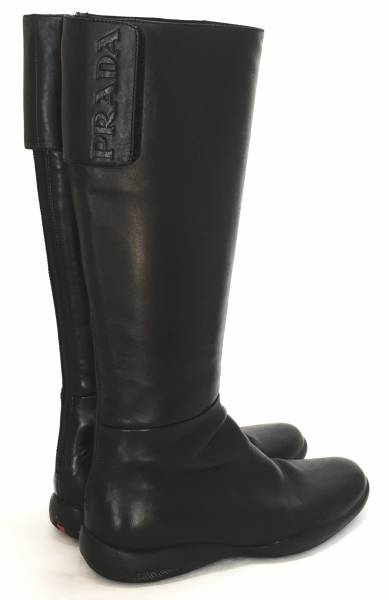 Prada boots logo with 36 23 cm black leather Prada sport PRADA boots  women s shoes boots 23c05175ed