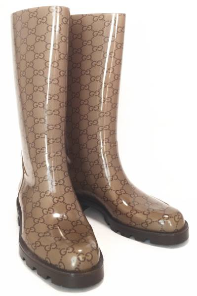 50ccad689e6 Unused Gucci rain boots 38 boots GG beige GUCCI Womens Brown GG pattern  rubber boots rain boots shoes