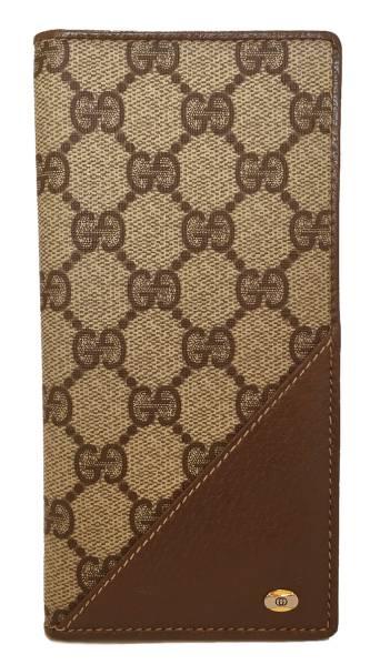 c05257e9ffbc Gucci long Bill slot old Gucci vintage wallet GG plus GG beige antique GUCCI  wallet mens ...