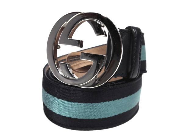 8baae8c0a9e Gucci belt interlocking G 114984   40 100 cm men s GUCCI black × blue  canvas GG buckle black blue black