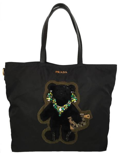 ee745ad749d8 Prada tote bag Teddy bear nylon shoulder bag black black bear PRADA  applique handbag BR4171 Womens Bijou rhinestone