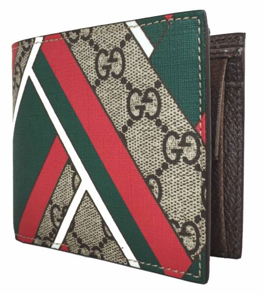 7908ebfd8942 ... Unused Gucci Chevron two bi-fold wallet GG plus Sherry mens GG Supreme  429222 bi ...