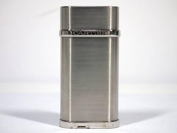 カルティエ ライター オーバル CA120116 ロゴ入り シルバー ヘアライン Cartier ガスライター メンズ レディース 【中古】