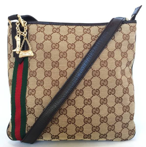 1a65a3976593 Gucci charm with shoulder bag GG canvas # 144388 Sherry oblique me掛e beige  GUCCI ...