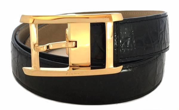 カルティエ ベルト クロコダイル タンク GP ゴールド ブラック 95cm 黒 紳士用 メンズ CARTIER カルチェ Cartier レザー 【中古】