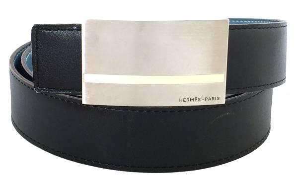 エルメス ベルト メンズ 95cm ブラック 黒 ロゴ スクエア バックル HERMES リバーシブル水色 レザー 紳士用 シルバーバックル キットベルト 【中古】