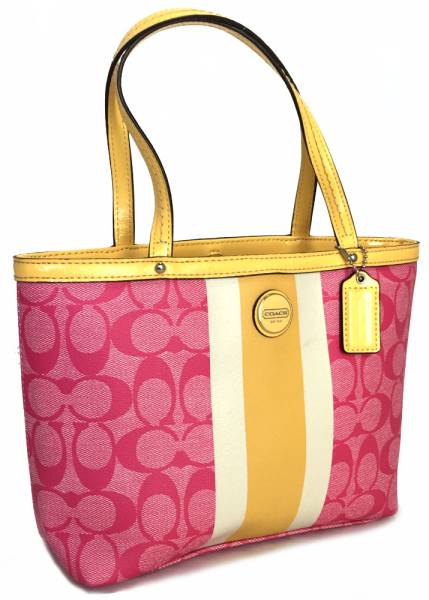 Coach Mini Thoth Tote Bag Pink Yellow Lunch Lady Signature F49096 Pvc Patent