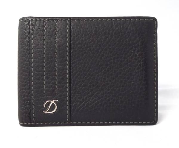 デュポン 札入れ 二つ折り ブラック 黒 レザー 本革 S.T.Dupont 財布 メンズ 【中古】