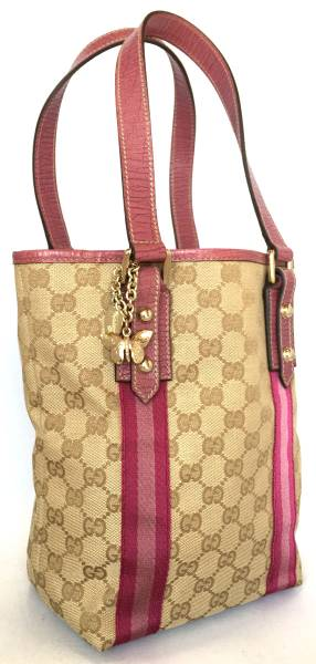 f9e59591601d ... Gucci tote bag charm GG canvas GG pink 162898 handbag GUCCI GG pattern  bucket bag beige ...