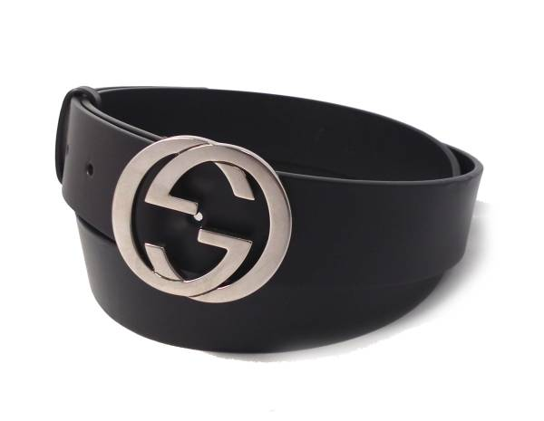 7b414010e06 Gucci belt 110cm black black GG buckle interlocking grip G-mans leather  genuine leather GUCCI