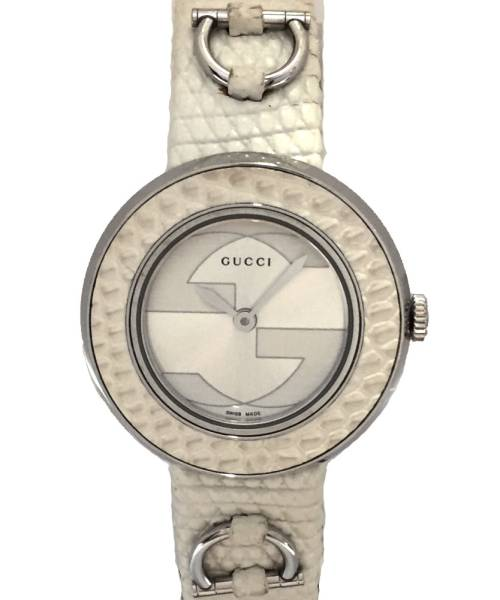 37ed9785786 Gucci watch Lady s you play clock U play 129.5 interlocking grip leather  belt white white lizard leather band GUCCI Lady s watch