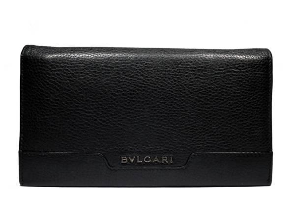 【値下げ】ブルガリ 長財布 レザー 二つ折り アーバン メンズ 33402 型押し ブラック 黒 レザー マチあり BVLGARI  本革 【中古】