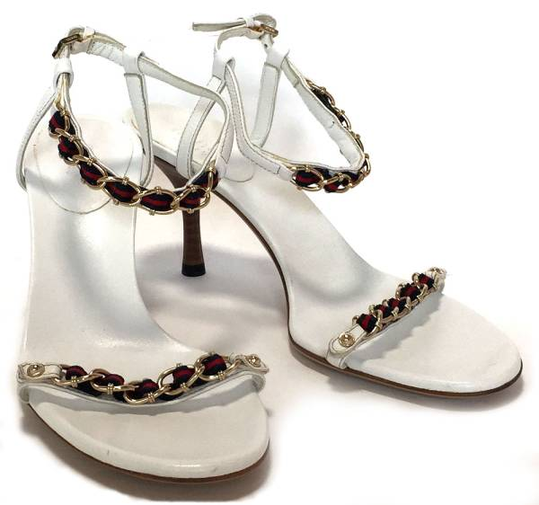 34de706e9 Like-new Gucci sandals 35 22cm sherry white white chain leather GUCCI heel  Lady s shoes mule chain