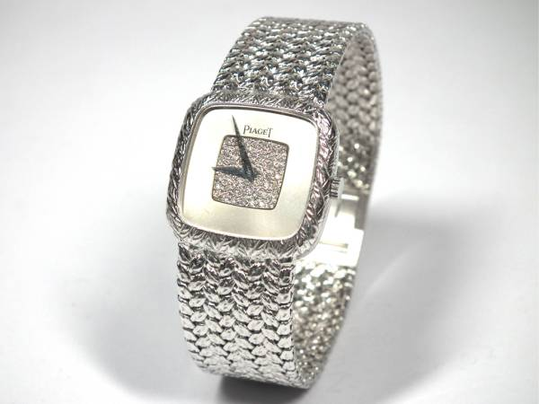 ピアジェ 時計 750WG ホワイトゴールド 腕時計 レディース ウォッチ ダイヤ文字盤 K18WG 金無垢 手巻き アンティーク PIAJET 【中古】