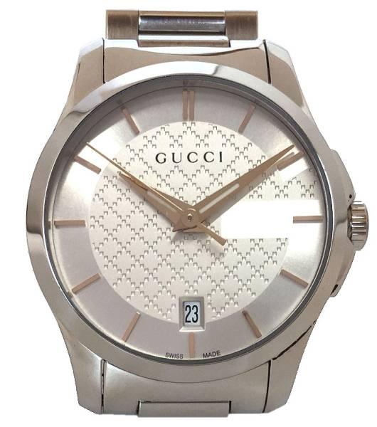 グッチ 腕時計 レディース ウォッチ タイムレスG シルバー SS 時計 ミディアム 美品 GUCCI 白文字盤 デイト表示 QZ 【中古】