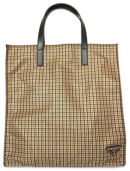 Like-new Prada shopping bag tote bag Thoth brown check brown nylon VA0905  Lady s PRADA Eco bag 6b50c60ea1588