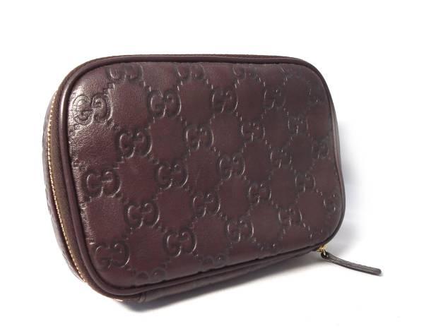 d6b4355dd Like-new Gucci porch makeup porch Gucci sima jewelry case 191187 model push  leather dark ...