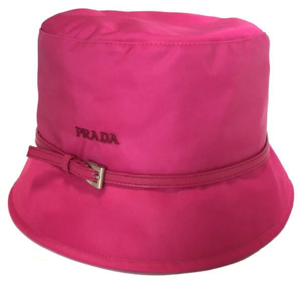 プラダ 帽子 ハット ピンク ナイロン PRADA レディース 美品 つば付 ホットピンク Mサイズ ロゴ 【中古】