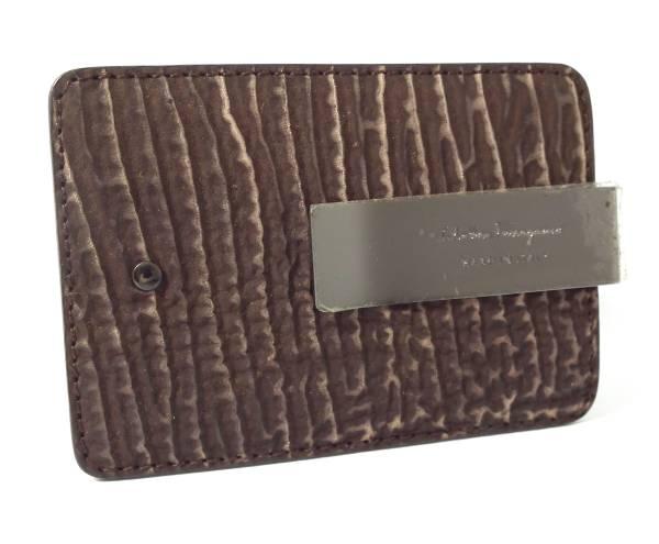 uk availability 642ce 00868 Salvatore Ferragamo for the unused Ferragamo money clip type push leather  card case pass case brown bill scissors men gentleman