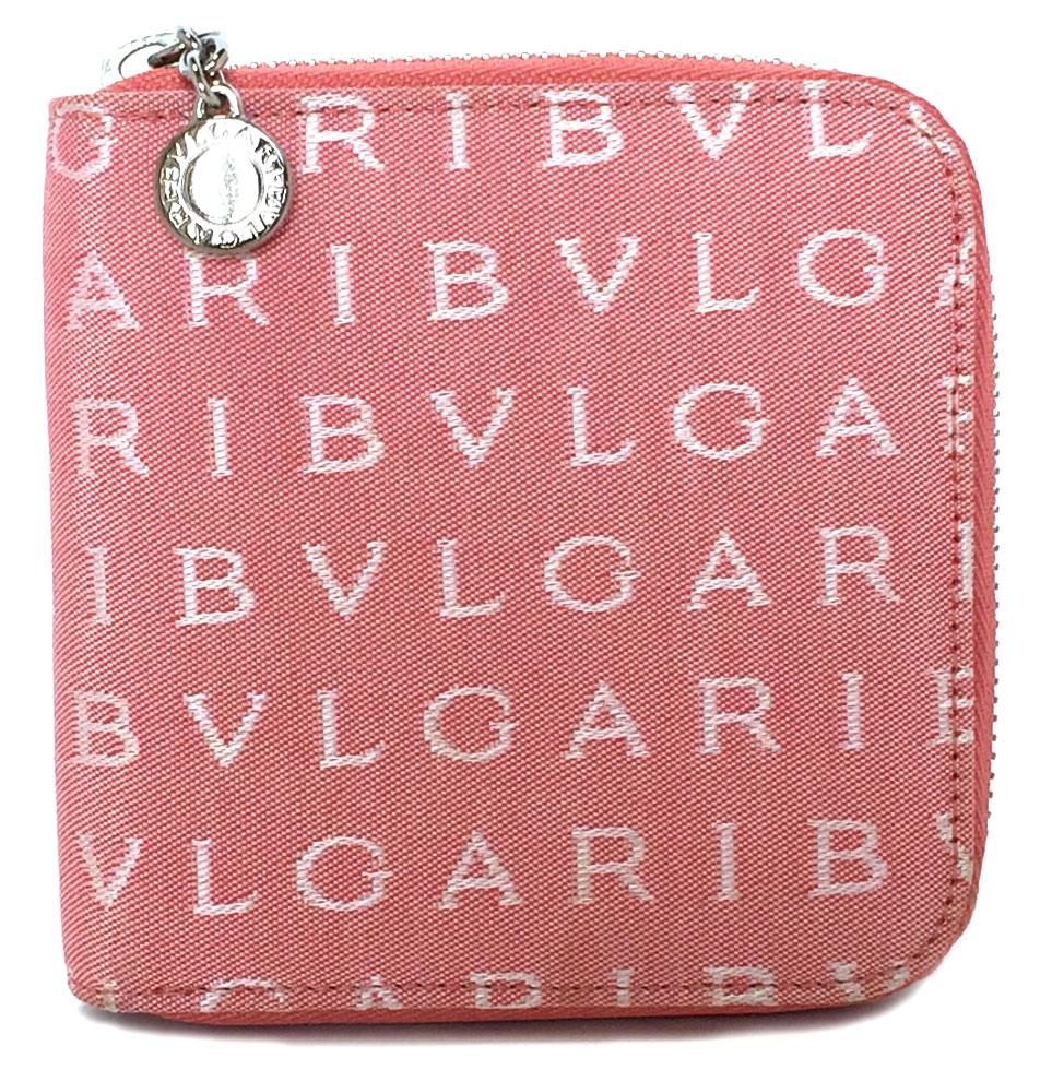 未使用 ブルガリ ロゴマニア ラウンドファスナー 財布 22246 ピンク キャンバス ジップアラウンド サイフ BVLGARI レディース 【中古】