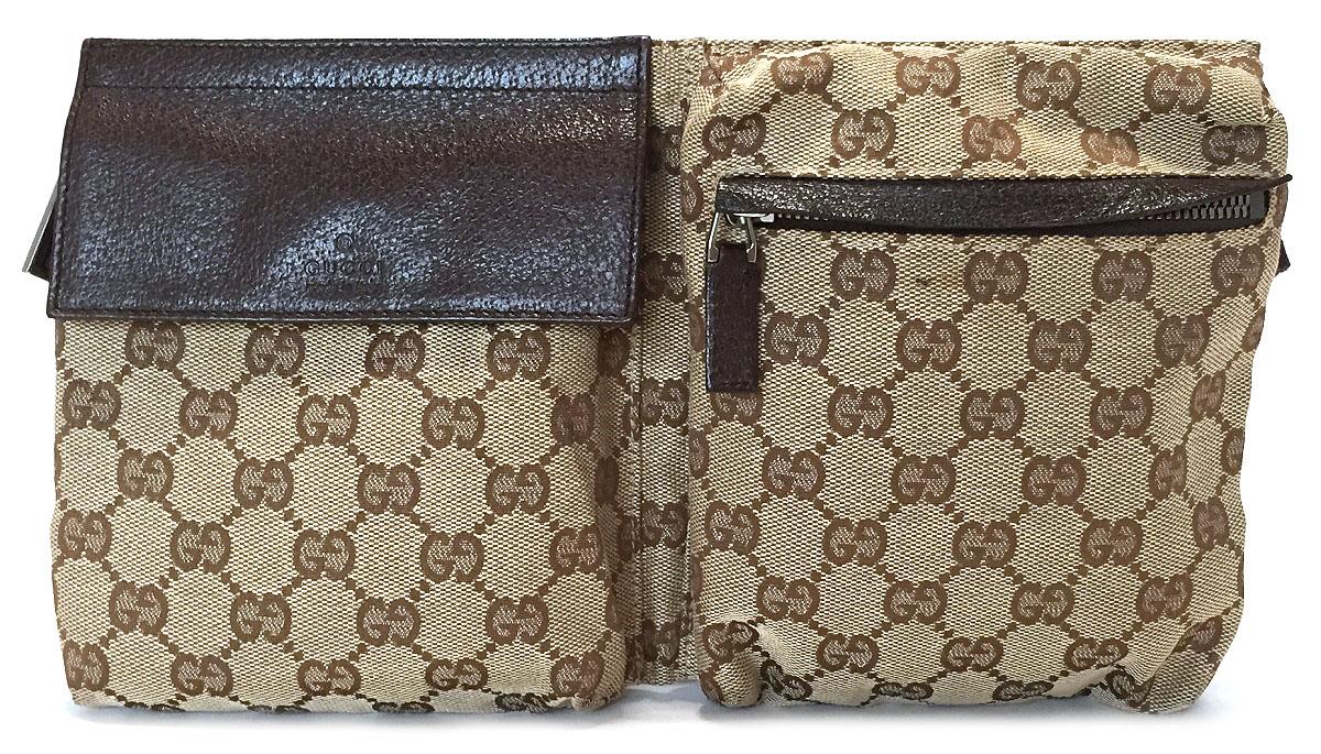 c17a8dbd309 Gucci belt bag body bag bum-bag beige X dark brown 28566 men s lady s GUCCI  beige GG canvas man and woman combined use waist porch