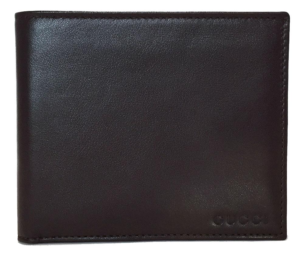 新品同様 グッチ 札入れ 二つ折り 札入 財布 ブラウン レザー 茶色 メンズ GUCCI 034・041 二つ折り財布 二つ折り札入れ 本革 ロゴ 紳士用 【中古】