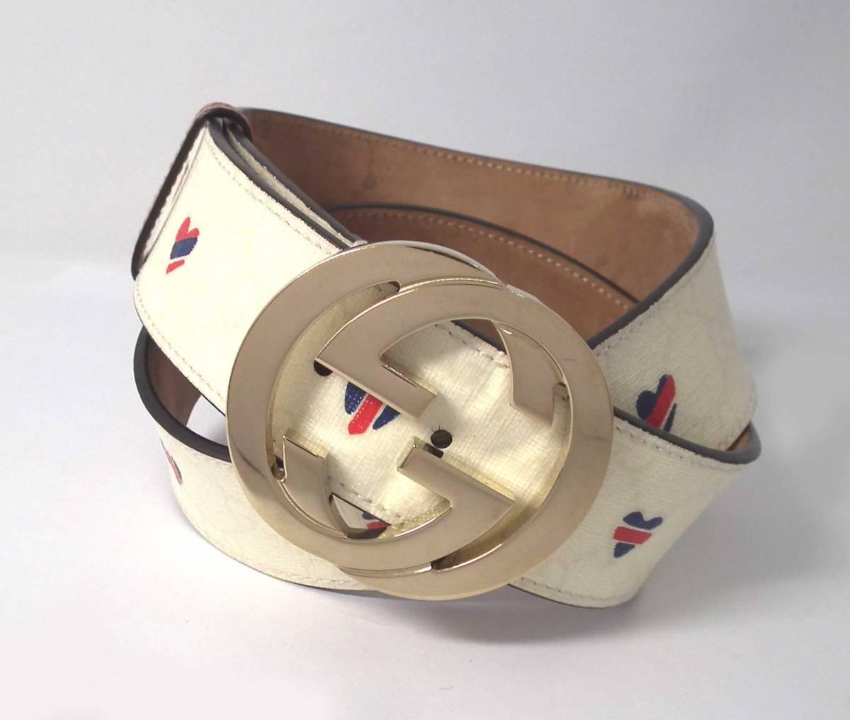 2462702bf72 Gucci heart belt 85cm GG interlocking grip G Lady s white GG white 114876  GUCCI