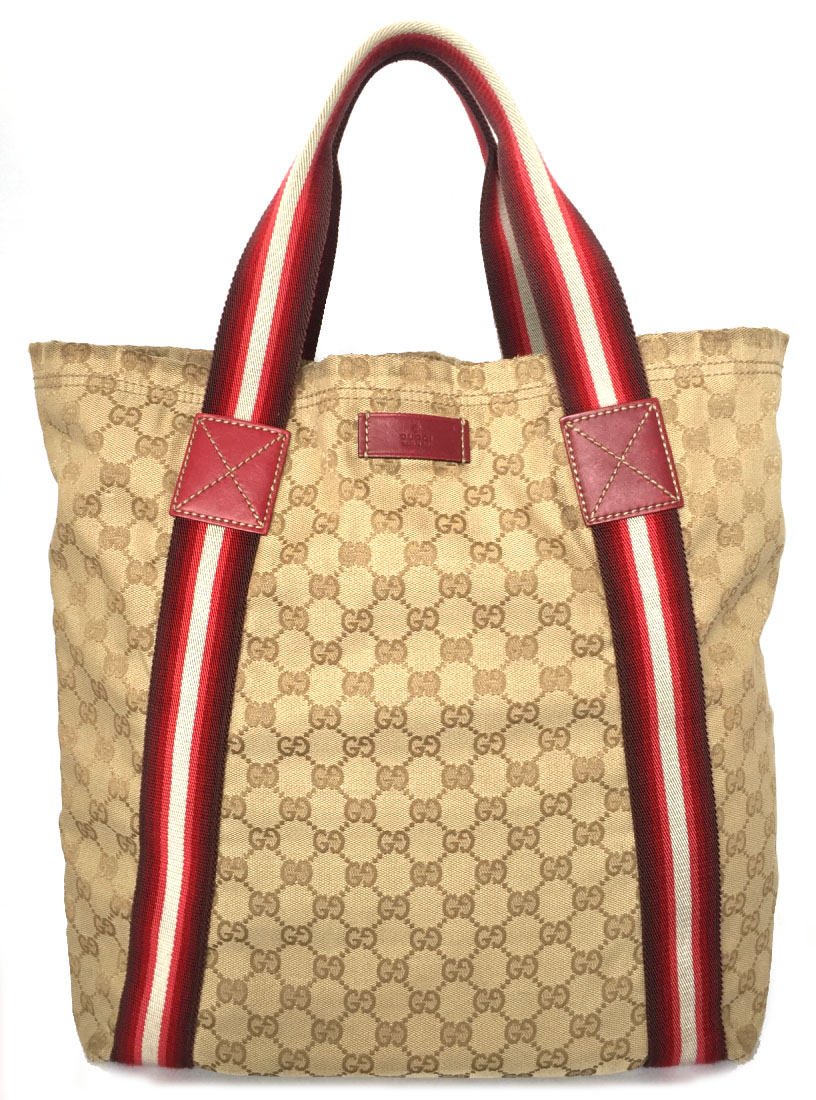 82a78494e6d Gucci tote bag Eco bag GG GG canvas beige Lady s shopping bag 189669 GUCCI  red red