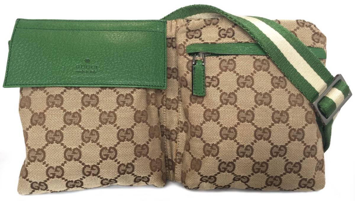 42148bd8e54d Gucci GG pattern bum-bag belt bag GG men waist porch body bag beige green  ...