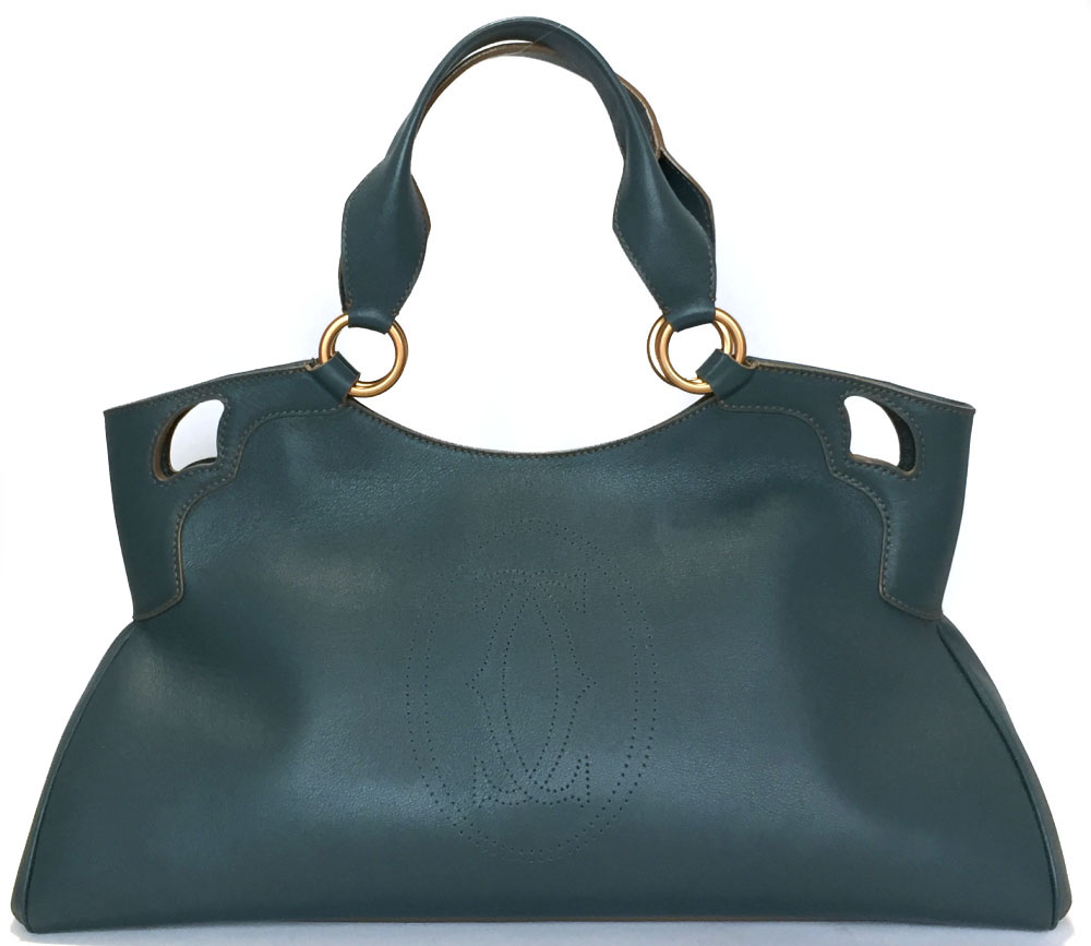 Cartier Bag Marcello Handbag Tote Leather 2c Lady S C2 Blue Green Beauty Product Oar