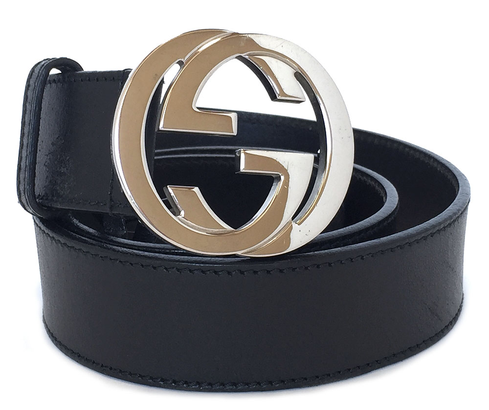 3079d9ad1 Gucci belt GG buckle interlocking grip G 85cm black black men GG leather  genuine leather GUCCI double G 114876