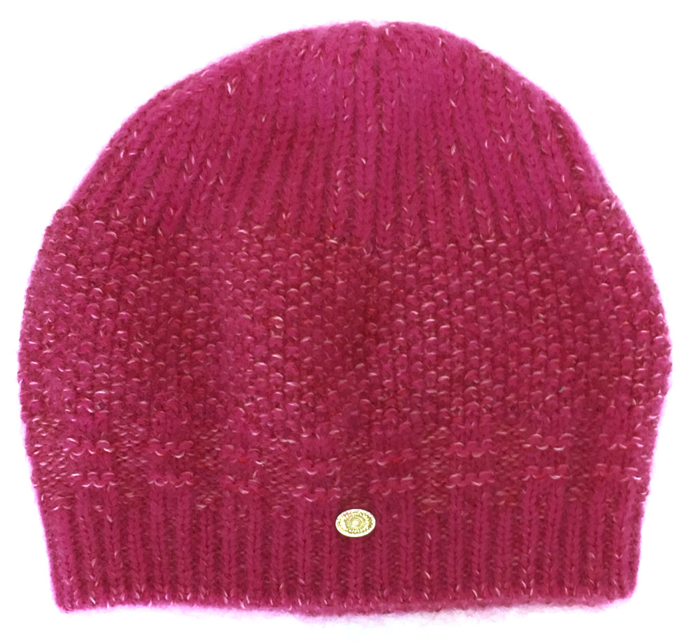7593a7da227 Like-new Chanel knit hat knit cap pink knit hat here mark wool Lady s CHANEL