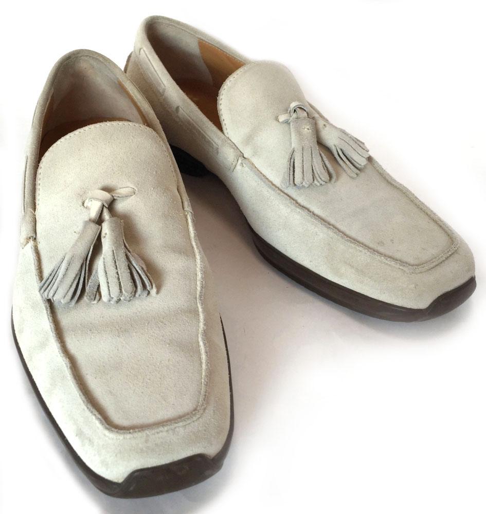フェラガモ レザー シューズ 靴 スエード タッセル スウェード#6 24.5cm メンズ ローファー Ferragamo ベージュ スリッポン FERRAGAMO 【中古】