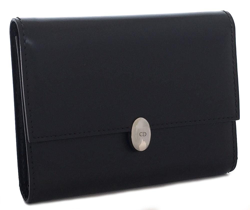 クリスチャンディオール 財布 レディース ブラック 黒 三つ折り レザー ディオール 美品 Dior CD 【中古】