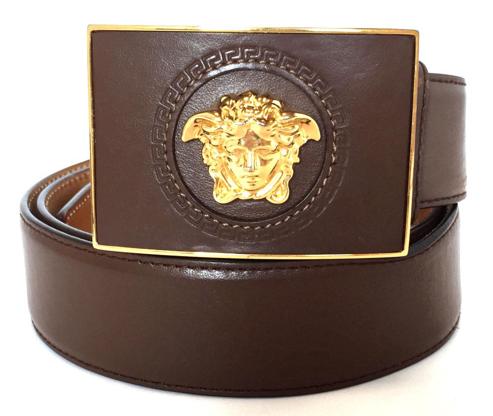 b3cd9244 Versace belt Medusa GP gold buckle brown leather 100cm men's men's VERSACE